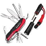 Schweizer Messer| Feuerstahl, Morpilot 15 in 1 Schweizer Taschenmesser| Swiss Knife| Multitool...