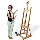 Artina Atelierstaffelei Siena Staffelei Massive Holzstaffelei aus geöltem Buchenholz für...