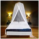 EVEN NATURALS MOSKITONETZ Bett, großes Mückennetz für Einzelbett, feinste Löcher, rundes Netz...