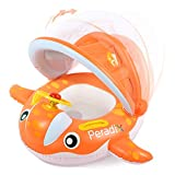 Peradix Baby Schwimmring mit Sonnendach Aufblasbares Kinderboot für Kinder ab 6 Monaten,Orange