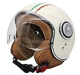 MONACO Jet-Helm mit Visier, Retro Pilot-Helm für Brillen-Träger, Roller-Helm für Frauen und...