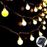 Solar Lichterkette Außen 60 LED, 8M / 27FT LED Lichterketten, 8 Modi Wasserdichte solarbetriebene...