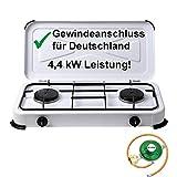 CAGO Campingkocher Gaskocher 2-flammig Gasherd 50 mbar mit Gasschlauch und Gasregler