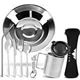 NATUMO® Camping-Geschirr Besteck aus Edelstahl Leichte Reinigung Kompakt Geschirr-Set Leichtes...