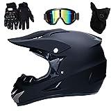 Motocross Helm Matte Schwarz, Herren Crosshelm mit Brillen Maske Handschuhe (4Pcs), Adult Motorrad...