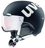 uvex Unisex– Erwachsene, hlmt 500 visor Skihelm, black-white mat, 52-55 cm