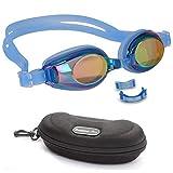 BEZZEE PRO Kinder Schwimmbrille - UV Geschützte Lecksicher Spiegelbrille - Farbige Linse mit...