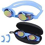 BEZZEE PRO Blaue Kinder Schwimmbrille - UV Schutz & Antibeschlag Brille mit Etui - 3 Unterschiedlich...