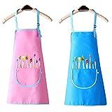 Kinder Schürz 2 Stück Verstellbare Malschürze Kinder mit Tasche Wasserdicht Kinder Schürzen...