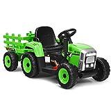 COSTWAY 12V 3-Gang Traktor mit abnehmbarem Anhänger und 2,4G Fernbedienung, Kinder Aufsitztraktor...