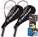 Dunlop Squashset: 2x Squashschläger BIOTEC LITE TI SILVER DELUXE + 2x Schlägerhülle + 3...
