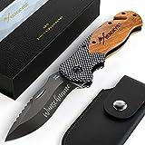 BERGKVIST® 3-in-1 Taschenmesser K20 Zweihand-Messer mit Gravur I Vatertagsgeschenk I Survival Knife...