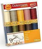 Gütermann Creativ Set aus 10 Rollen Garn a 100 Meter aus mercerisierter Premium-Baumwolle C NE 50 (Natur)
