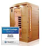 Dewello Infrarotkabine PIERSON 135x105 DUAL-THERM für 1-2 Personen aus Hemlock Holz mit...