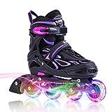 2PM SPORTS Vinal Verstellbar Inliner für Kinder, Leucht Inline Roller Skates Rollschuhe für...