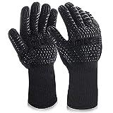MILcea Grillhandschuhe BBQ Handschuhe Ofenhandschuhe Hitzebeständige Grill Lederhandschuhe...