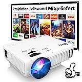 DR.Q HI-04 Beamer mit 100 Zoll Screen, Beamer Full HD 6000 Lumens, Mini Beamer Unterstützt 1080P...