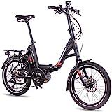 CHRISSON 20 Zoll E-Bike Klapprad EFB schwarz - E-Faltrad mit Active Line Mittelmotor 250 W 40 Nm und...