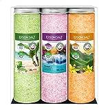 Nortembio Epsom Salz Set 3 x 430 g. Vanille, Rosen und Zitronenaroma. Hydratisiert mit Vitamin C und...