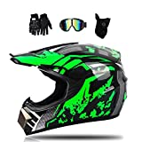 MRDEAR Motorrad Crosshelm Schwarz Grün Motocross Helm Set mit Brille (4 Stück), Fullface MTB Helm...