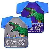 Basumee 2 Stück Dinosaurier Malschürze Kinder, Wasserdicht Kinder Malkittel 3-7 Jahre Junge,...