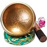 Große Original Tibetische Klangschale - 13cm. Klangschalen Set mit Klöppel und Klangschalenkissen...