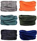6 Stück Nahtlose Bandanas Multifunktionstuch Schal - Elastiche Multifunktion Stirnband Gaiter...