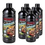 FLAMMBURO (6 Liter) Grillanzünder 1000 ml, Flüssiganzünder 1L, Anzünder flüssig 1 L - 6 x 1...