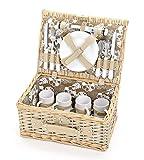 Picknickkorb 4 Personen aus Weide mit Blumen Muster - 24 teilig - Hochwertiges Picknick Set mit...