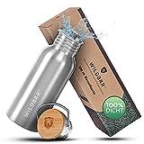 WILDBÄR® - Premium Trinkflasche Edelstahl [500 ml] einwandig u. auslaufsicher mit Bambus Deckel -...