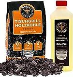 Grill Republic Tischgrill-Kohle 2,5kg & Brennpaste 500ml / 100% reine Buchenholzkohle für...
