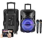 Vocal-Star Karaoke-Maschine und PA-Lautsprecher mit Bluetooth und 2 Mikrofonen 300 W
