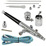 Agora-Tec® AT- Airbrush Pistole Kit AT-AK-02 mit 1,8 m Schlauch und 3 verschiedenen Düsen und...
