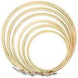 Caydo 6 Stück Stickrahmen Bambus Kreis Kreuzstich Hoop Ring, Runde Durchmesser 10cm bis 26cm...