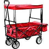 Faltbarer Bollerwagen mit Dach Handwagen Klappbar Gartenwagen Transportkarre Belastbar bis 80kg, 360...