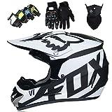 Motorradhelm - Motocross Helm Set - Dirt Bike Fullface Offroad Motorrad Helm mit Schutzbrille...