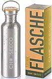 ChooseEco Edelstahl Trinkflasche - Nachhaltige Wasserflasche mit Bambus-Deckel - Auslaufsicher Dicht...