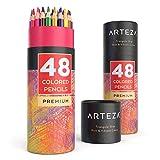 Arteza Buntstifte dreikant 48er-Set, Malstifte in tragbarer Runddose, mischbare Farbstifte mit...