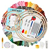 MAKEASY 205 PCS Stickerei Set,Stickerei Starter Kit, 100 Farbfäden, 40 Nähnadel, 3 PCS Aida Tuch,...