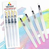 Tritart Profi Water Brush Pen Wasserpinsel Set mit Tank für Aquarell / 4 Wassertankpinsel