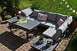 bomey Ecklounge Santorini mit HPL Terrassentisch (hell/Mittelgrau) I Gartenmöbel-Set bestehend aus...