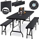 KESSER® Bierzeltgarnitur - 3-teilig Set, Tisch + 2 x Bank, für drinnen - draußen, klappbar,...