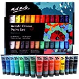 Mont Marte Acrylfarben Set 24 Farben 36ml, perfekt für Leinwand, Holz, Stoff, Leder, Pappe, Papier, MDF und Handwerk