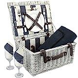 Home Innovation Picknick Korb für 2 mit wasserdichter Decke, Durable Wicker Picknick Hamper Set,...
