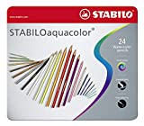 Aquarell-Buntstift - STABILO aquacolor - 24er Metalletui - mit 24 verschiedenen Farben