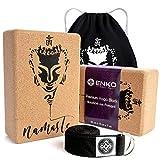 ENKO Premium Yoga Block 4er-Set - 2X Yogablock aus Kork 1x Yoga Gurt inklusive Baumwolltasche -...