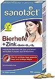 sanotact Bierhefe + Zink • 60 Tabletten Haut Haare Nägel Vegan • Haar Vitamine mit Bierhefe,...