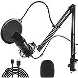 Peradix USB Kondensator Mikrofon für PC und Laptop, Studioaufnahme Mikrofon Kit mit...