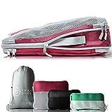 TRAVEL DUDE Packwürfel Set mit Kompression aus recycelten Plastikflaschen | Packing Cubes | Packtaschen Set für Rucksack & Koffer | Extra leichte Kleidertaschen (Mehrfarbig, 4-teilig)