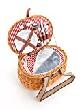 Picknickkorb 2 Personen mit Kühlfach aus Weide - 15 TLG. - Hochwertiger Weidenholz Picknickkorb mit...